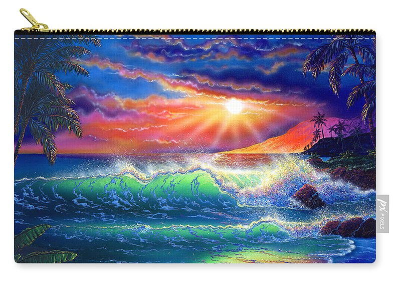 Seascape Carry-all Pouch featuring the painting Island Paradise by Angie Hamlin