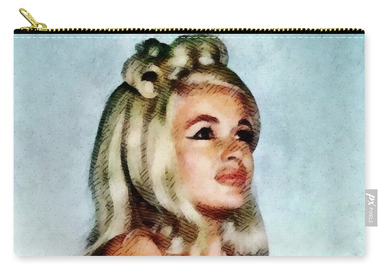 Jayne Carry-all Pouch featuring the painting Jayne Mansfield, Vintage Hollywood Actress And Pinup by John Springfield