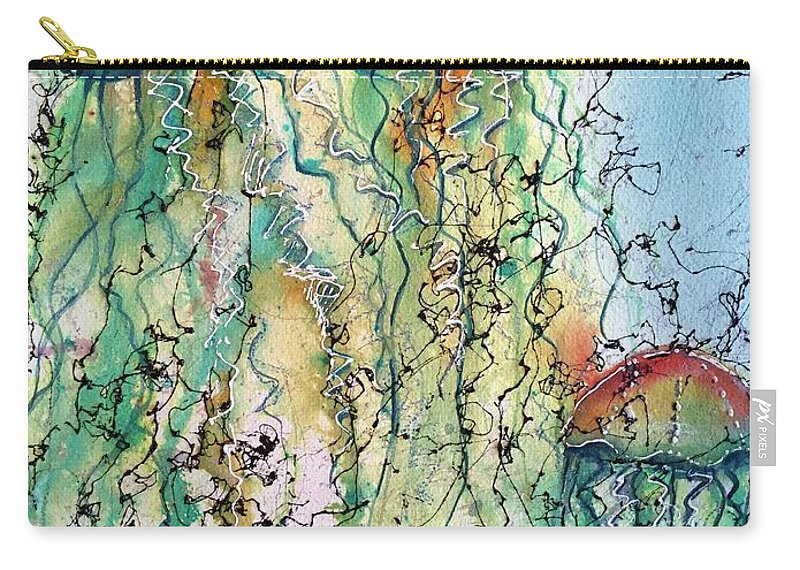 Jellyfish Carry-all Pouch featuring the painting Jellyfish IIi by Midge Pippel