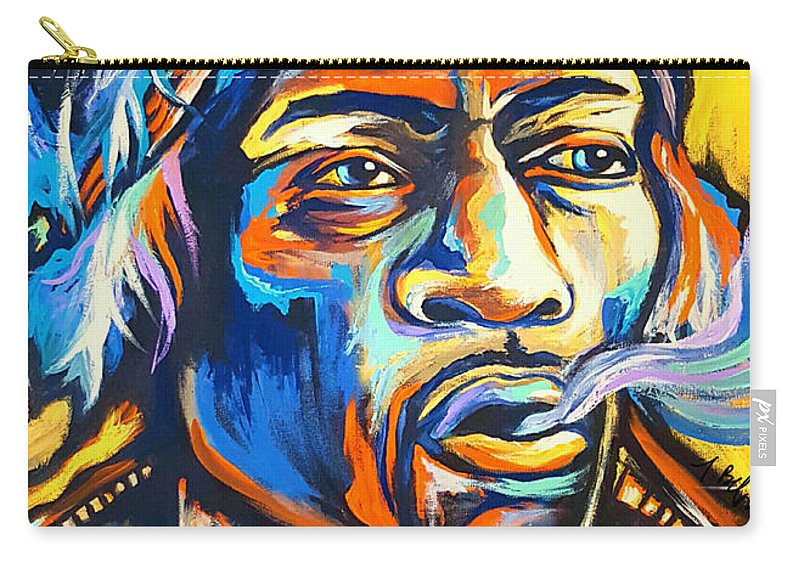 Jimi Carry-all Pouch featuring the painting Jimi Hendrix by Amy Belonio
