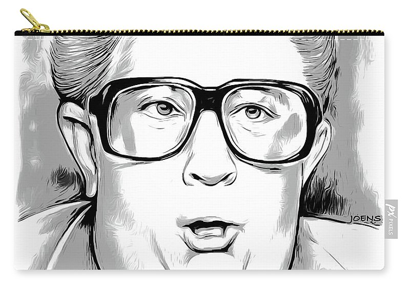 Cartoon Carry-all Pouch featuring the mixed media Jiminy Glick by Greg Joens