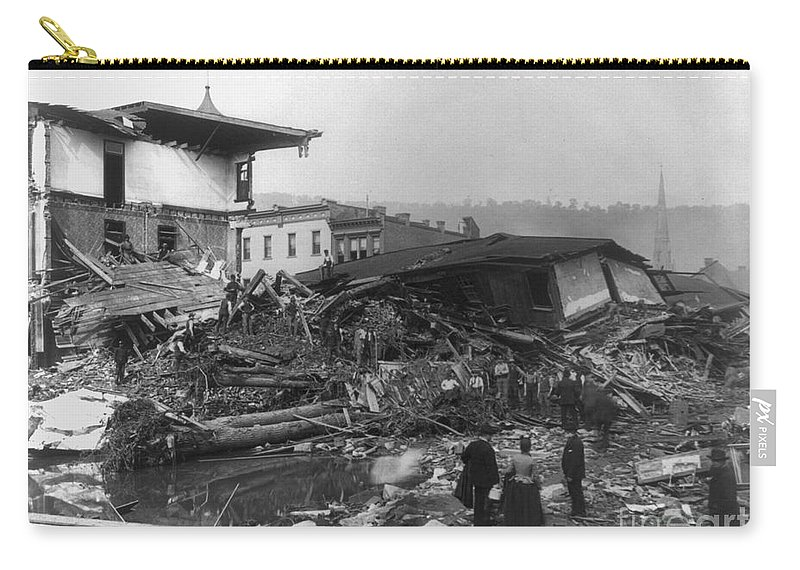 1889 Carry-all Pouch featuring the photograph Johnstown Flood, 1889 by Granger
