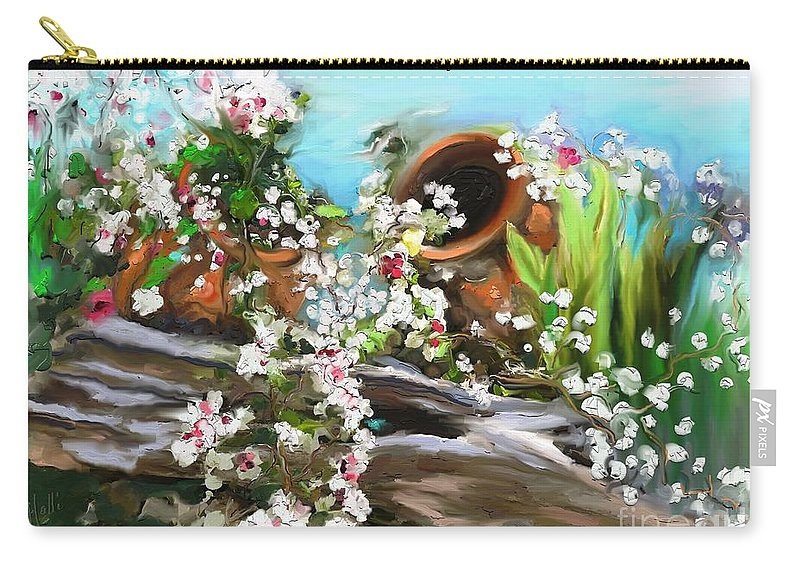 Joyeuse Saint Valentin ! Carry-all Pouch featuring the painting Joyeuse Saint Valentin by Aline Halle-Gilbert