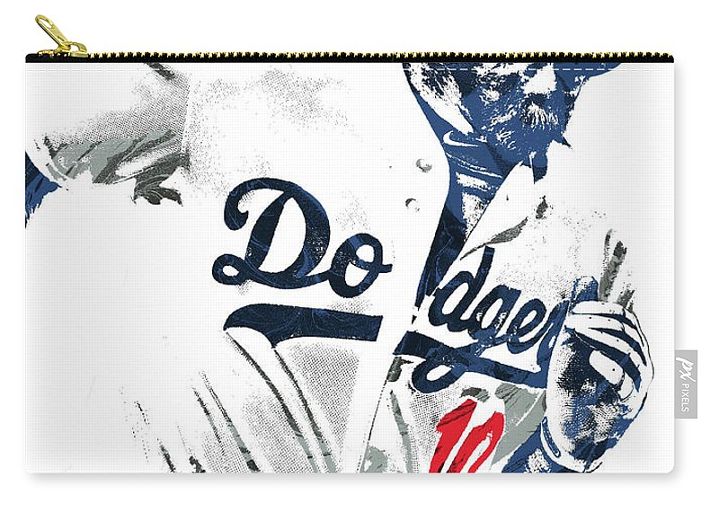 Justin Turner Carry-all Pouch featuring the mixed media Justin Turner Los Angeles Dodgers Pixel Art by Joe Hamilton