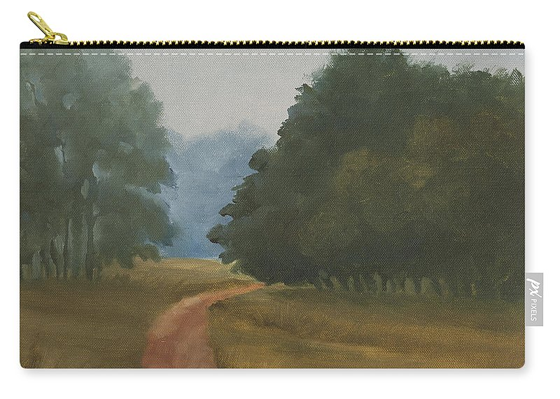 Landscape Carry-all Pouch featuring the painting Kanha Morning by Mandar Marathe