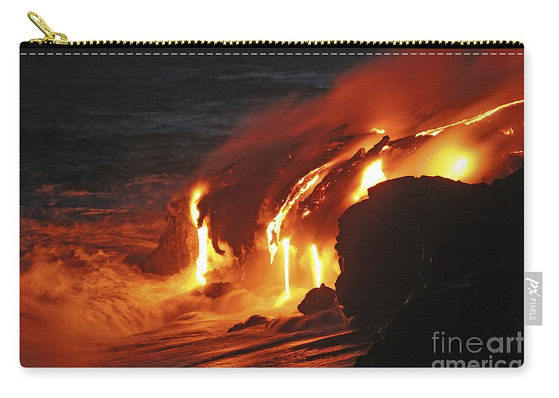 No People Carry-all Pouch featuring the photograph Kilauea Lava Flow Sea Entry, Big by Martin Rietze