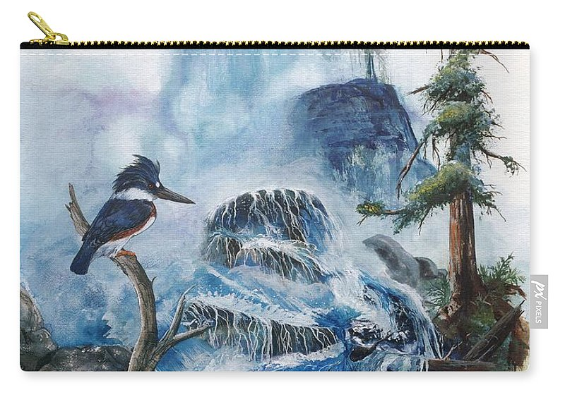 Kingfisher Carry-all Pouch featuring the painting Kingfisher's Realm by Sherry Shipley