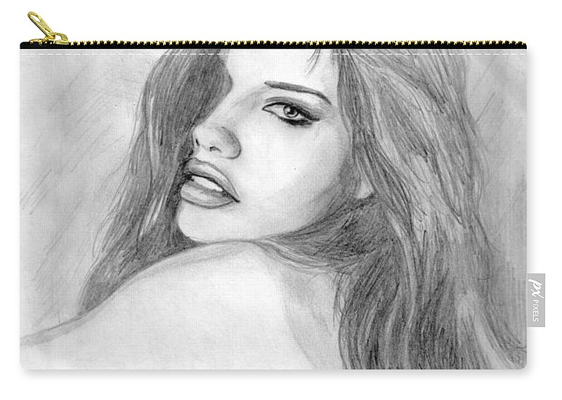 Adriana Lima Carry-all Pouch featuring the drawing 1 by Kristopher VonKaufman