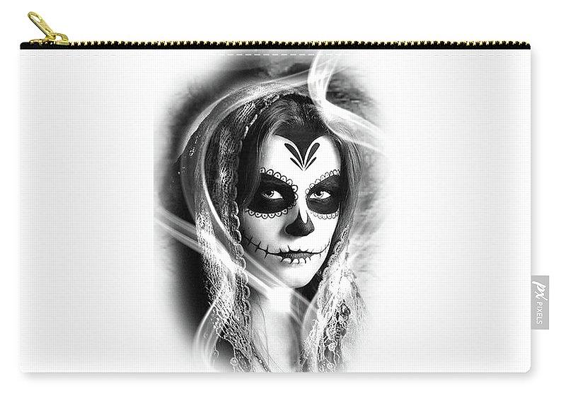 La Catrina Black Shadow Digital Art Carry-all Pouch featuring the digital art La Catrina by Rodrigo Butcher