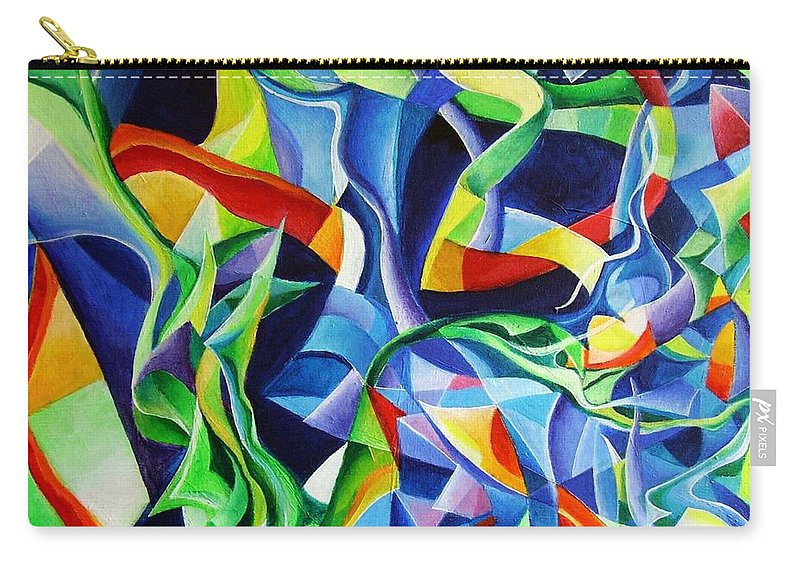 Claude Debussy Acrylic Abstract Pens Music Carry-all Pouch featuring the painting La Mer by Wolfgang Schweizer