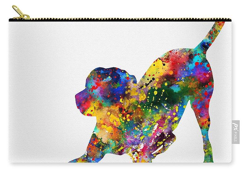 Labrador Retriever Carry-all Pouch featuring the digital art Labrador Retriever-colorful by Erzebet S