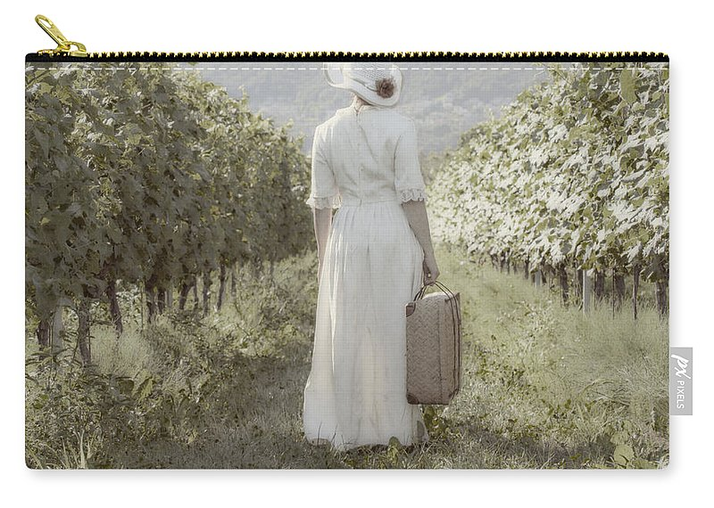 Female Carry-all Pouch featuring the photograph Lady In Vineyard by Joana Kruse