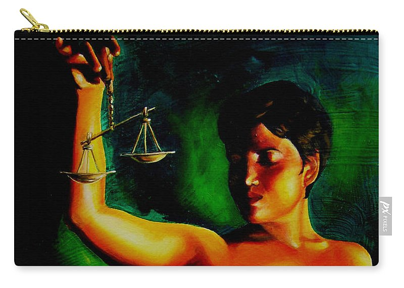 Law Art Carry-all Pouch featuring the painting Lady Justice by Laura Pierre-Louis