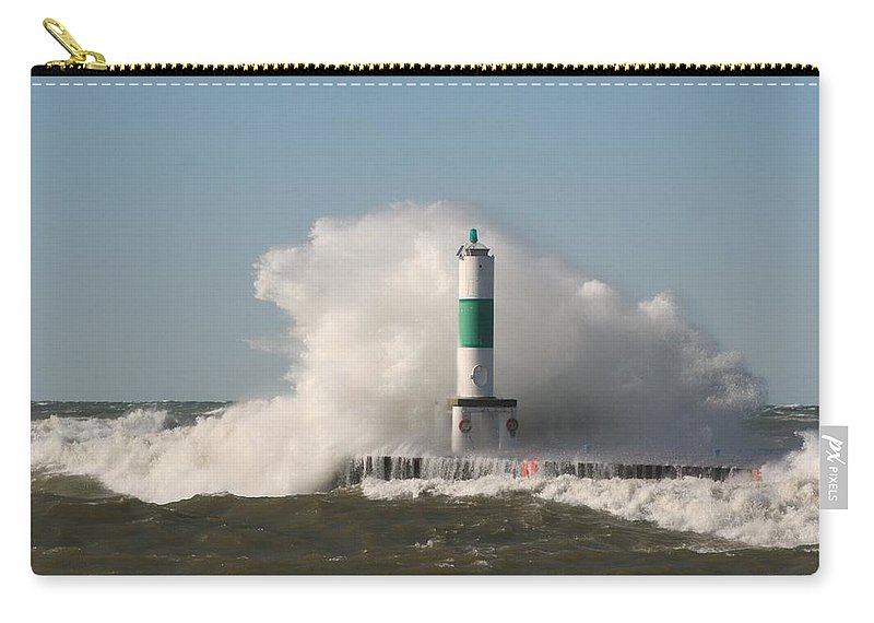 Water Carry-all Pouch featuring the photograph Lake Michigan Wave by John Knoppers