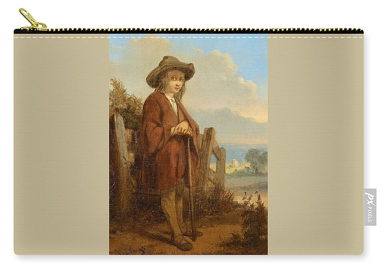 Eug�ne Isabey Carry-all Pouch featuring the painting Landscape With A Youth by MotionAge Designs