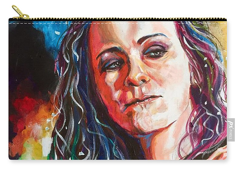 Portrait Carry-all Pouch featuring the painting Laura Jane Grace by Joel Tesch