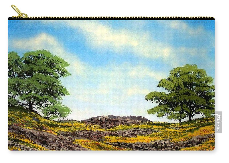 Wildflowers Carry-all Pouch featuring the painting Lava Rock And Flowers by Frank Wilson