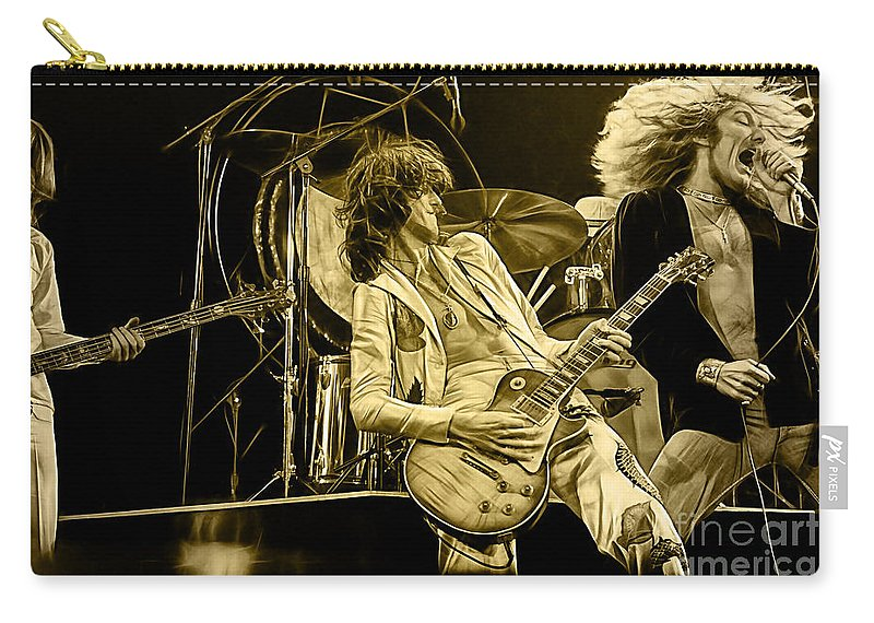 Led Zeppelin Digital Art Carry-all Pouch featuring the mixed media Led Zeppelin Collection by Marvin Blaine