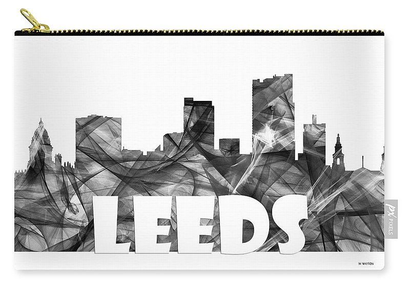 Leeds Carry-all Pouch featuring the digital art Leeds England Skyline by Marlene Watson