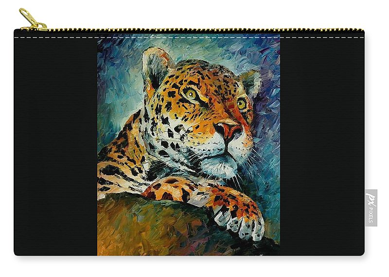 Animal Carry-all Pouch featuring the painting Leopard by Leonid Afremov