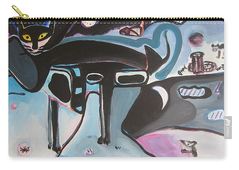 Cat Paintings Carry-all Pouch featuring the painting Let Me Out by Seon-Jeong Kim