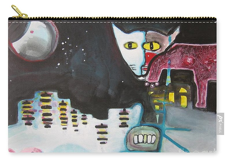Cat Paintings Carry-all Pouch featuring the painting Let Me Out3 by Seon-Jeong Kim