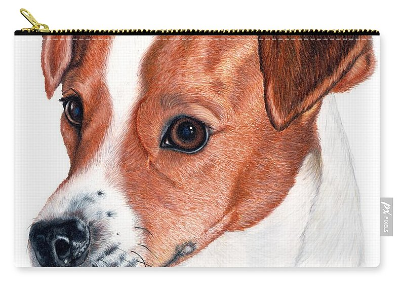 Jack Russell Terrier Carry-all Pouch featuring the drawing Lewie by Kristen Wesch