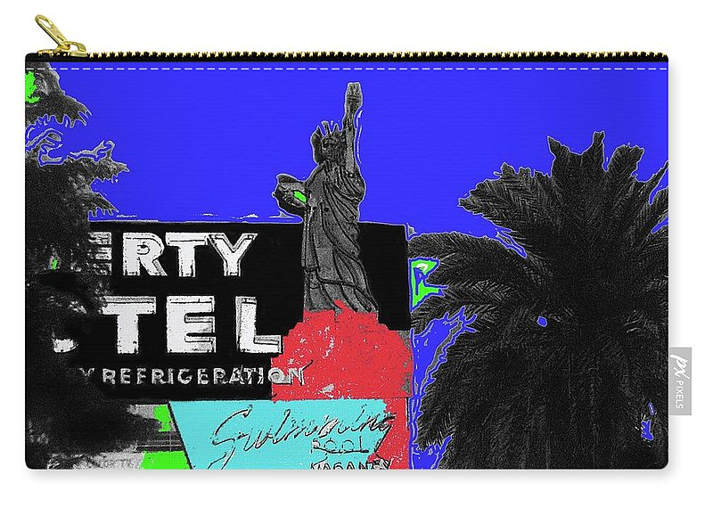 Liberty Motel Sign Statue Of Liberty Phoenix Arizona 1990 Carry-all Pouch featuring the photograph Liberty Motel Sign Statue Of Liberty Phoenix Arizona 1990-2008 by David Lee Guss