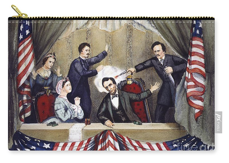 1865 Carry-all Pouch featuring the photograph Lincoln Assassination by Granger