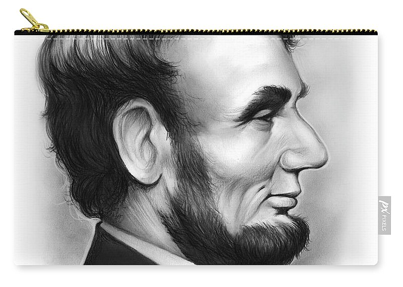 Lincoln Carry-all Pouch featuring the drawing Lincoln by Greg Joens