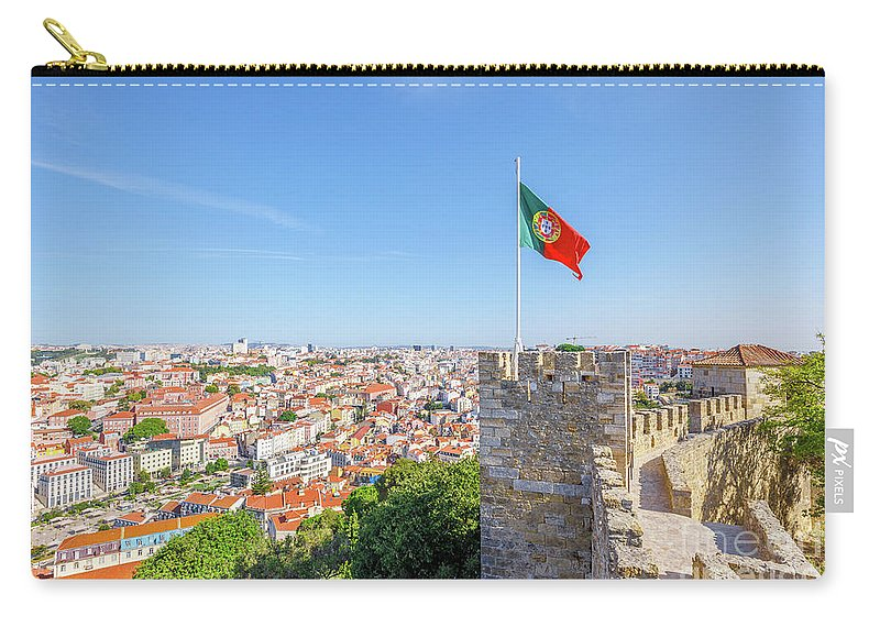 Lisbon Carry-all Pouch featuring the photograph Lisbon Castle Flag by Benny Marty