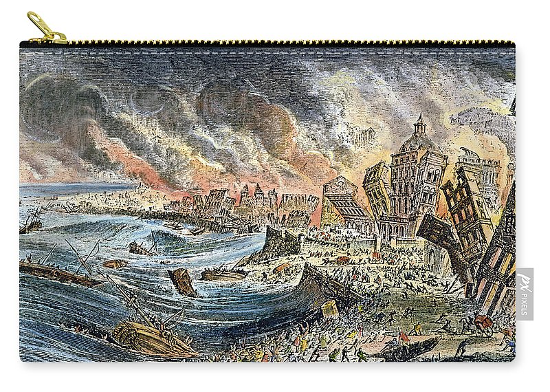 1755 Carry-all Pouch featuring the photograph Lisbon Earthquake, 1755 by Granger