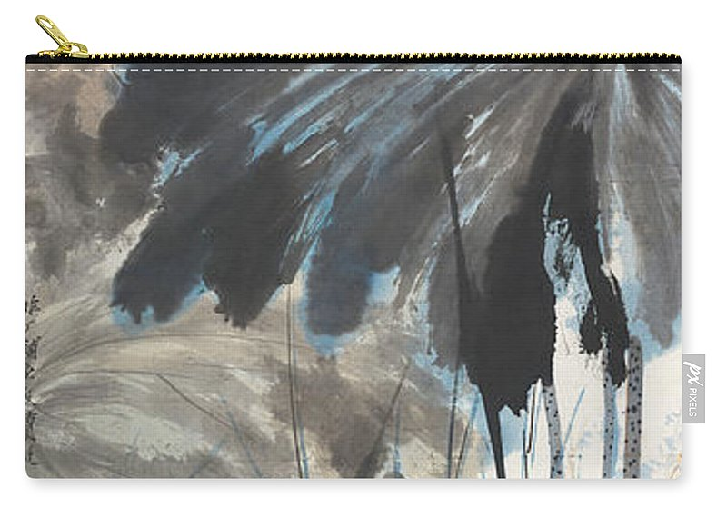 Lotus Plum Peony Flower Carry-all Pouch featuring the painting Lotus In The Pond by Zhang Daqian