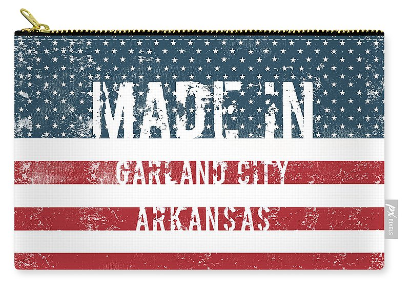 Garland City Carry-all Pouch featuring the digital art Made In Garland City, Arkansas by Tinto Designs