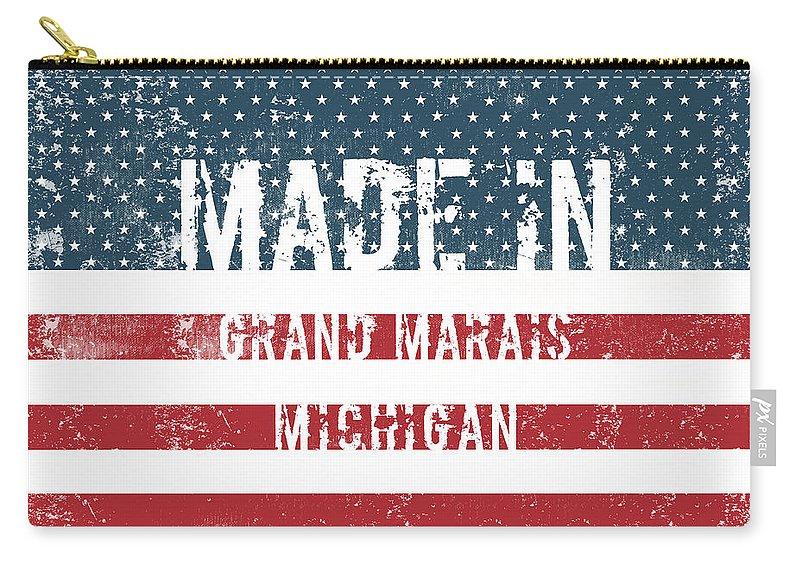 Grand Marais Carry-all Pouch featuring the digital art Made In Grand Marais, Michigan by GoSeeOnline