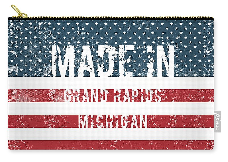 Grand Rapids Carry-all Pouch featuring the digital art Made In Grand Rapids, Michigan by Tinto Designs