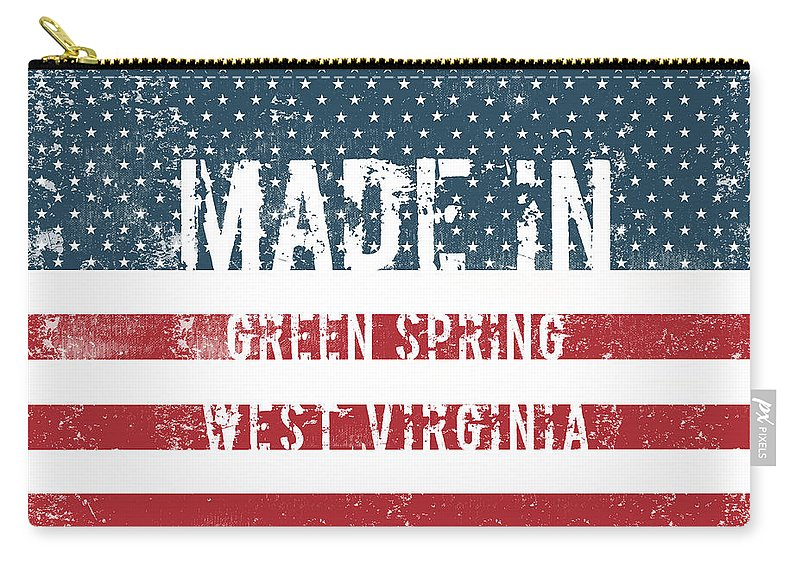 Green Spring Carry-all Pouch featuring the digital art Made In Green Spring, West Virginia by Tinto Designs