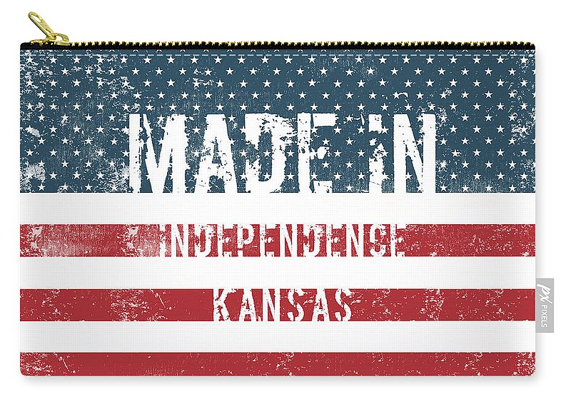 Independence Carry-all Pouch featuring the digital art Made In Independence, Kansas by Tinto Designs