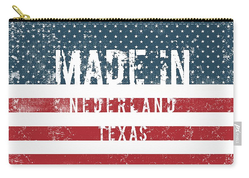 Nederland Carry-all Pouch featuring the digital art Made In Nederland, Texas by GoSeeOnline