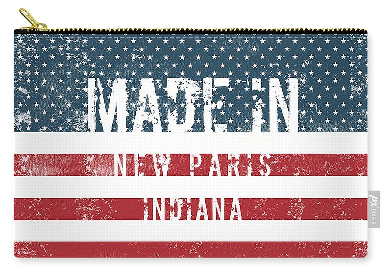 New Paris Carry-all Pouch featuring the digital art Made In New Paris, Indiana by GoSeeOnline