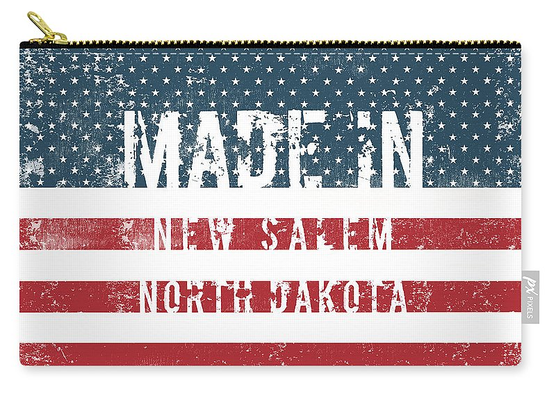 New Salem Carry-all Pouch featuring the digital art Made In New Salem, North Dakota by GoSeeOnline