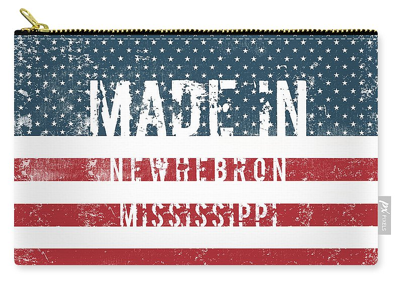 Newhebron Carry-all Pouch featuring the digital art Made In Newhebron, Mississippi by GoSeeOnline
