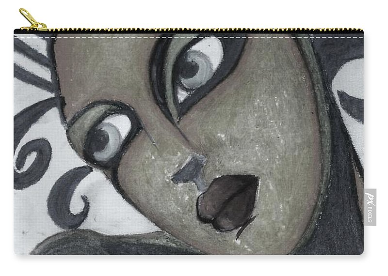 Portrait Carry-all Pouch featuring the painting The Look Of Love by Vesna Antic