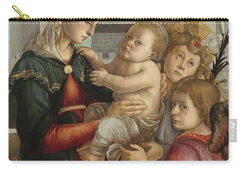 Sandro Botticelli Carry-all Pouch featuring the painting Madonna And Child With Angels by Sandro Botticelli