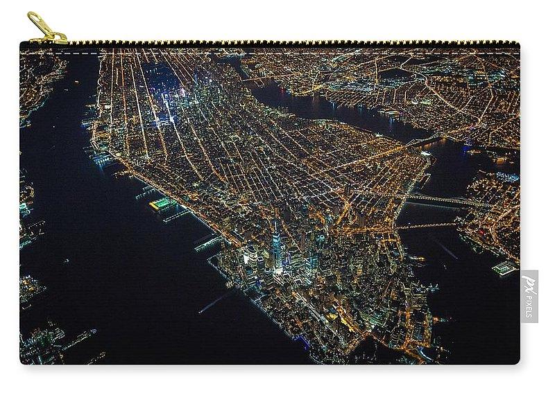 Manhattan Carry-all Pouch featuring the digital art Manhattan by Maye Loeser