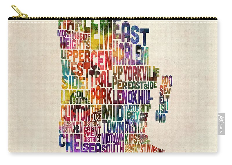 Manhattan Map Carry-all Pouch featuring the digital art Manhattan New York Typographic Map by Michael Tompsett