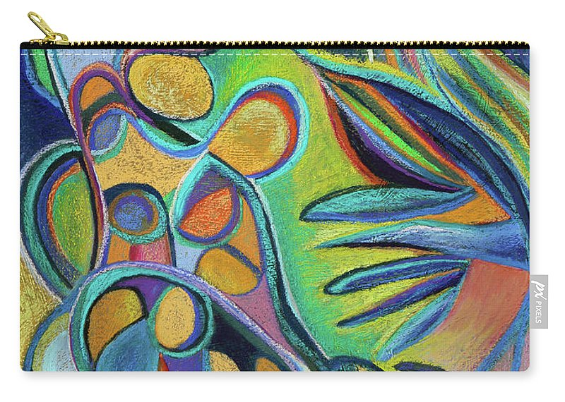 Abstract Expressionist Painting Carry-all Pouch featuring the pastel Meandering Curiosity by Polly Castor