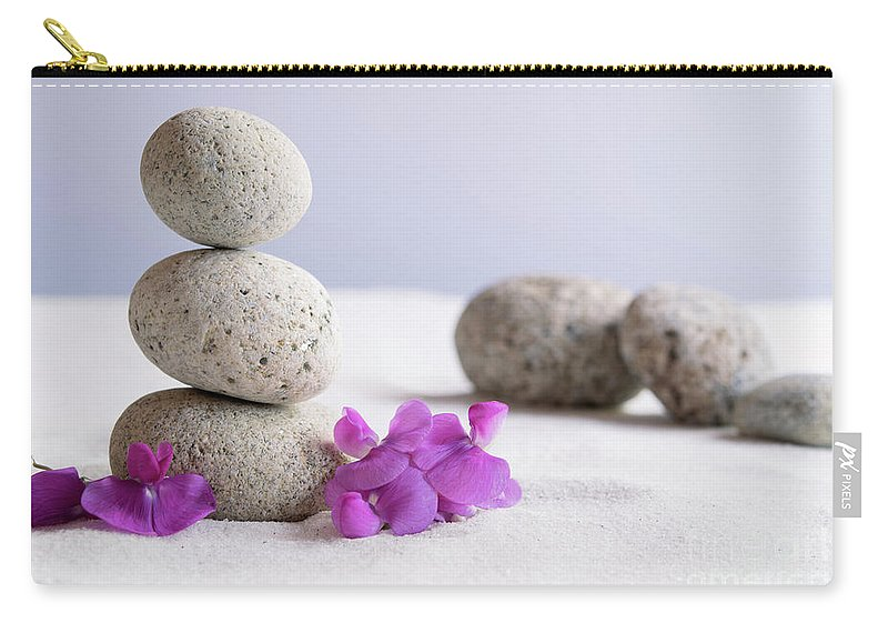 Meditation Carry-all Pouch featuring the photograph Meditation Stones Pink Flowers On White Sand by Michelle Himes