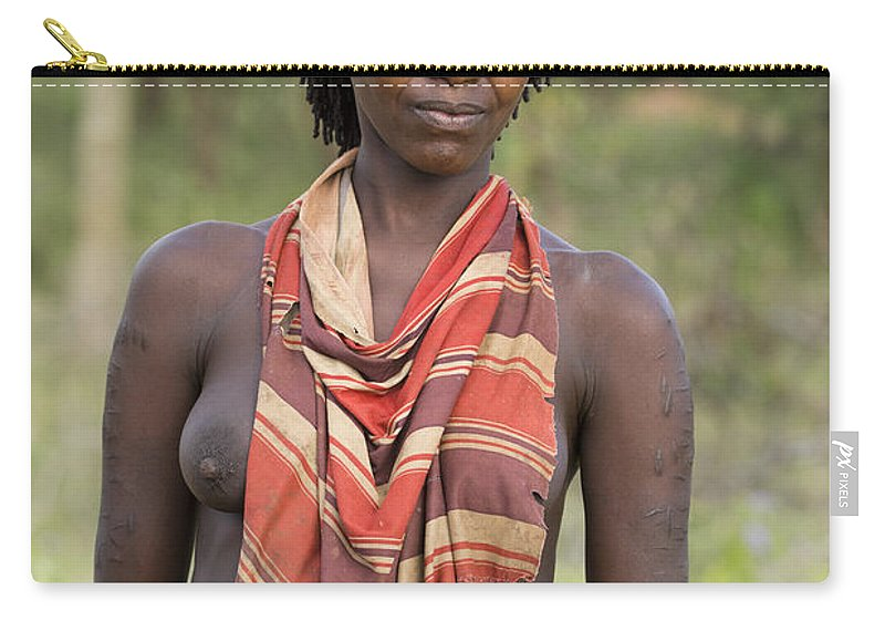 Ethiopia Carry-all Pouch featuring the photograph member of the Bena Tribe, Omo Valley by Eyal Bartov