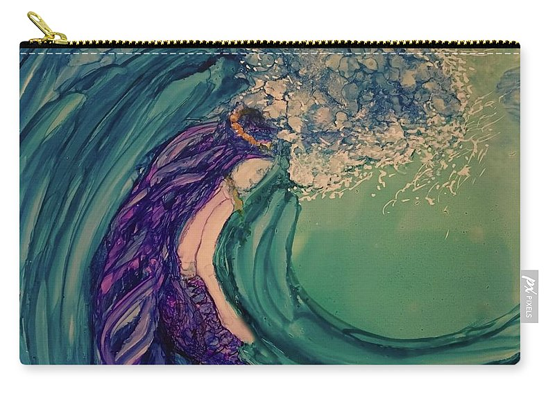 Wave Breaking Carry-all Pouch featuring the painting Mermaid Wave by Leti C Stiles